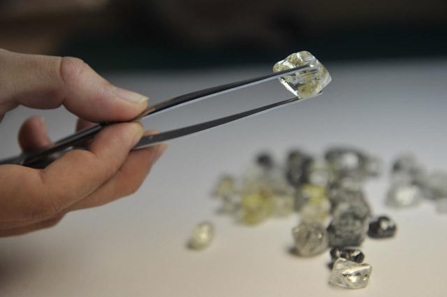 Сортировка необработанных алмазов в сортировочном центре, принадлежащем компании «Алроса» в Москве.