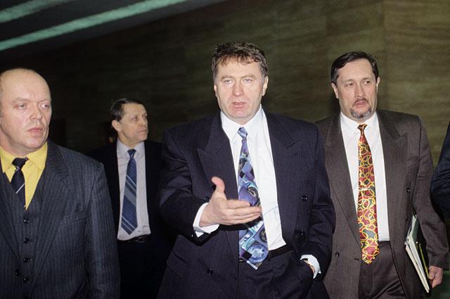 Лидер ЛДПР Владимир Жириновский ( в центре) 1996 г.