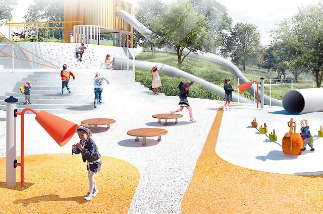 После благоустройства склон берега Москвы-реки в Капотне превратится в новый районный парк с многоуровневой детской игровой зоной и спортивными площадками, скамейками и новым освещением.