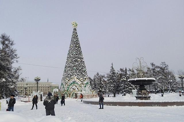Иркутская елка в этом году обновила наряд.