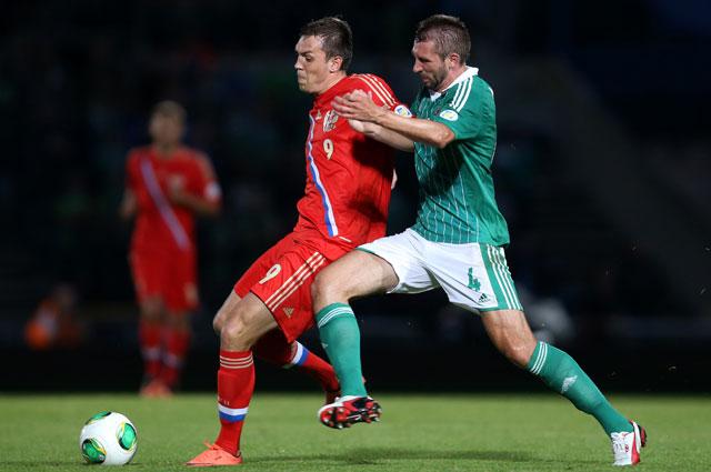 Артём Дзюба в матче против Северной Ирландии