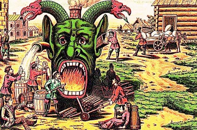 «Пьянство есть корень всякого зла». Антиалкогольный плакат, 1902 г.