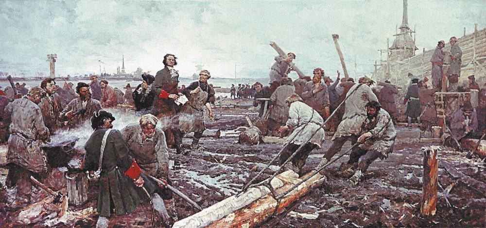 Строительство Санкт-Петербурга. Картина Георгия Песиса (1958)