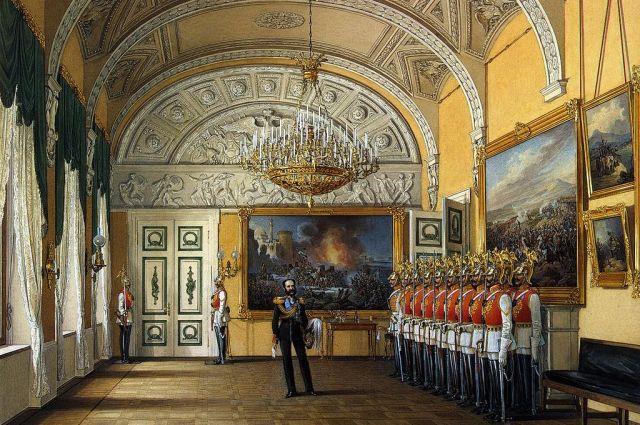 Барельеф «Битва амазонок с центаврами», выполненный Теребенёв, в зале кавалерийского караула Зимнего дворца на акварели Эдуарда Гау « Зал развода караула», (1864).
