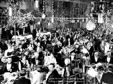 Ужин в отеле Hollywood Roosevelt Hotel, на котором были вручены первые премии «Оскар».