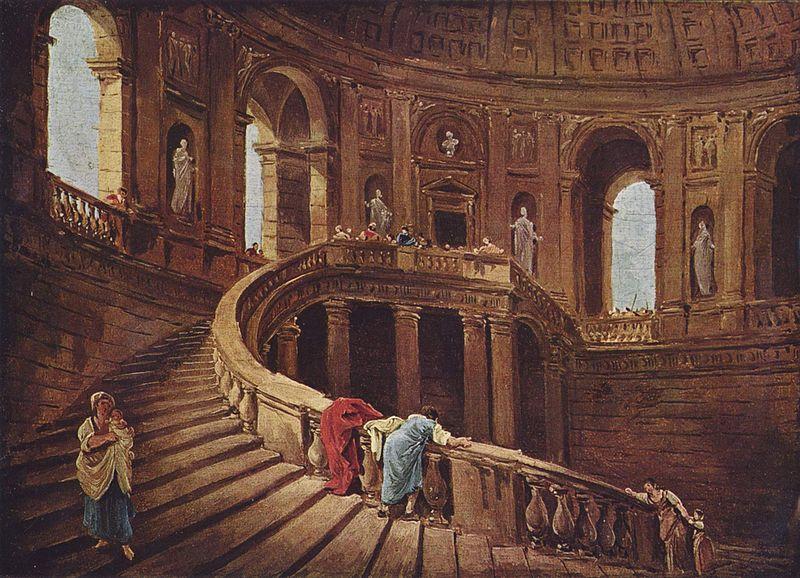 Юбер Робер. Лестница во дворце Фарнезе в Капрарола.