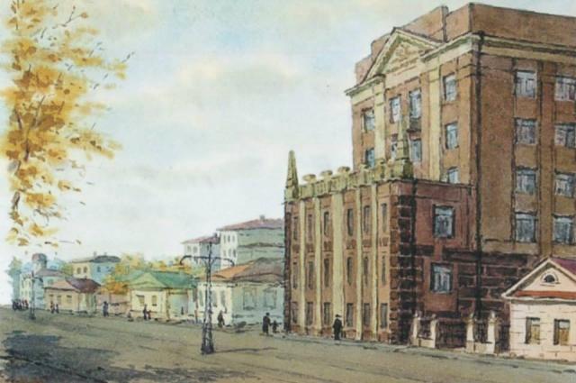 Университетский корпус глазами художника в 50-е года прошлого века.