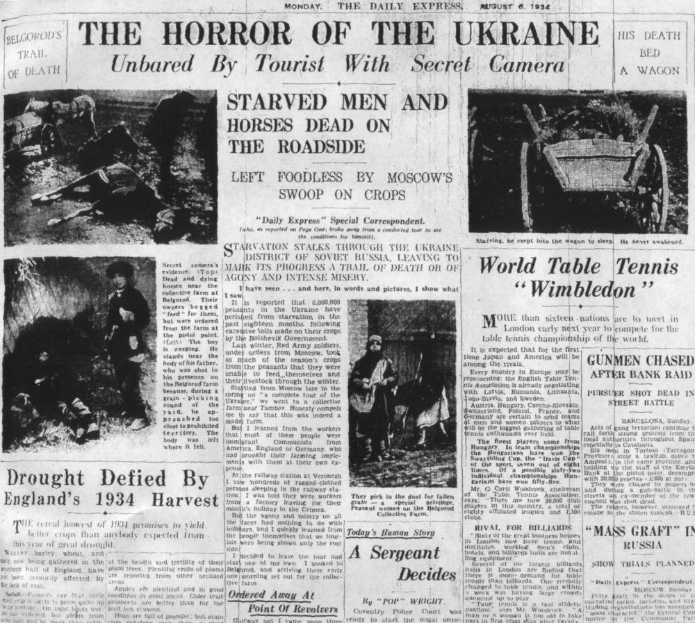 Фото газеты Daily Express геноцида Голодомора 20-ти миллионов русских и украинских крестьян. 6 августа 1934 г.