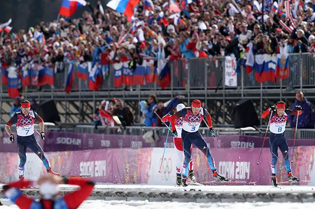 Финиш лыжного марафона на Олимпиаде в Сочи