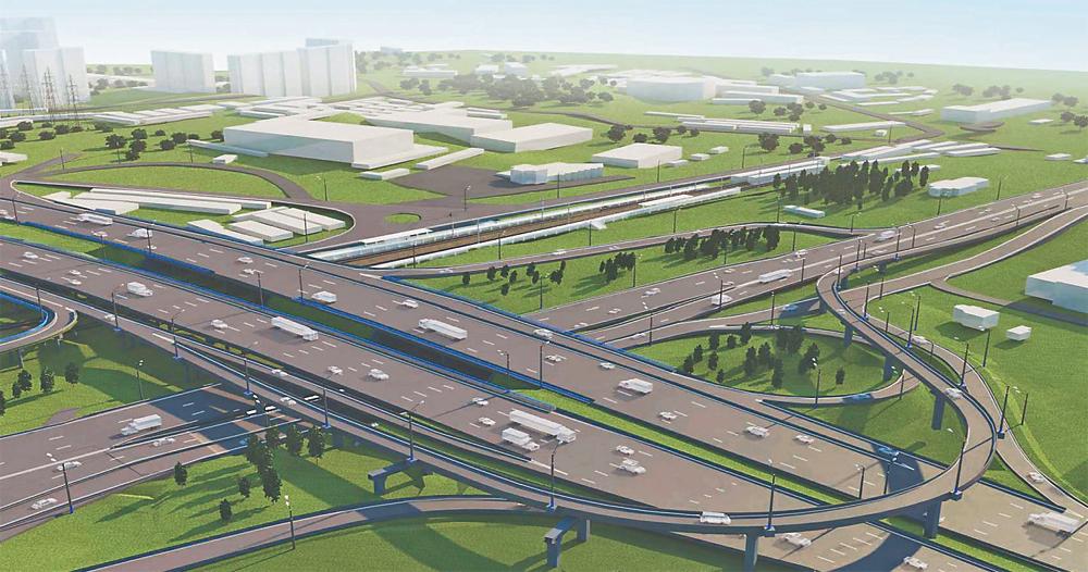 Проект новой транспортной развязки на Волоколамском шоссе.
