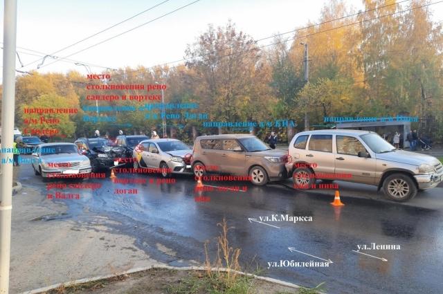 ДТП произошло из-за несоблюдения дистанции одним из водителей.