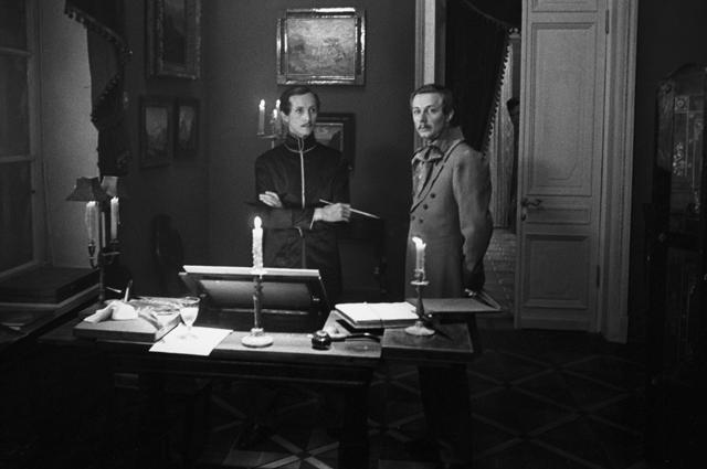 Артисты Николай Бурляев иСергей Смирнов насъемках фильма «Лермонтов».