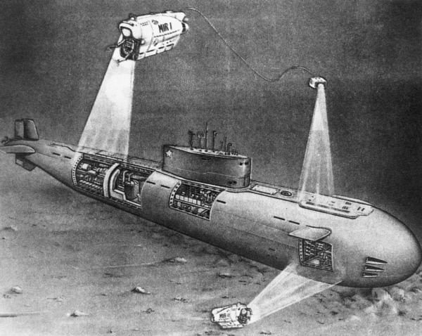 Репродукция рисунка Норвежское море. Атомная лодка