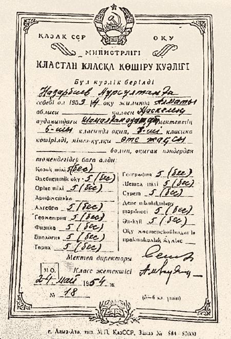 Свидетельство с оценками об окончании 6-го класса в 1954 г.