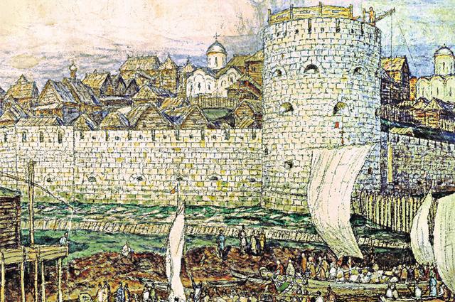 Кремль времён Дмитрия Донского. Белокаменные стены возвели вместо деревянных к 1367 году. Рисунок Аполлинария Васценова.