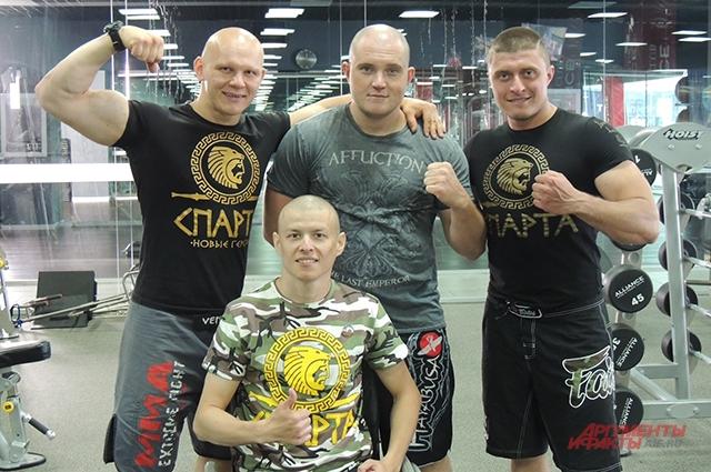 Семён с друзьями-спартанцами Эдуардом Халиловым, Антоном Рудановым и Максимом Щербаковым (слева направо)
