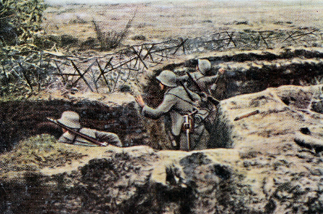 Немецкий солдаты в окопах.