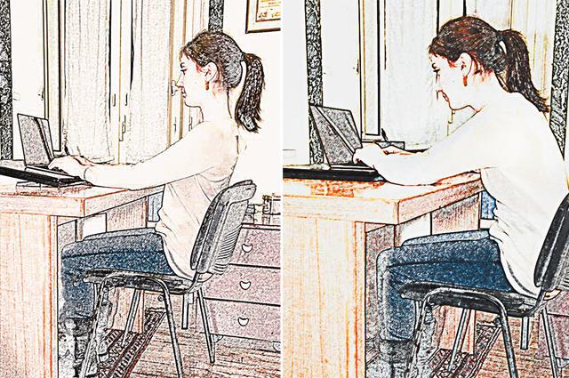 Правильная поза за компьютером – без наклона головы (слева).