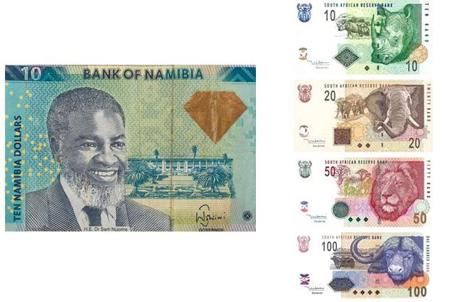 Намибийский доллар и южноафриканский рэнд
