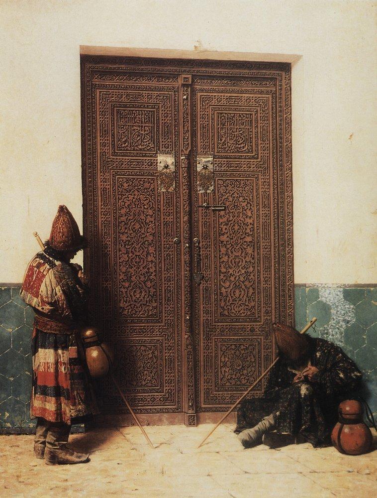 На картине изображены двери в мавзолей проповедника Ходжи Ахмеда Ясави в Туркестане.