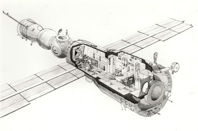 Орбитальная станция «Мир». Рисунок общего вида