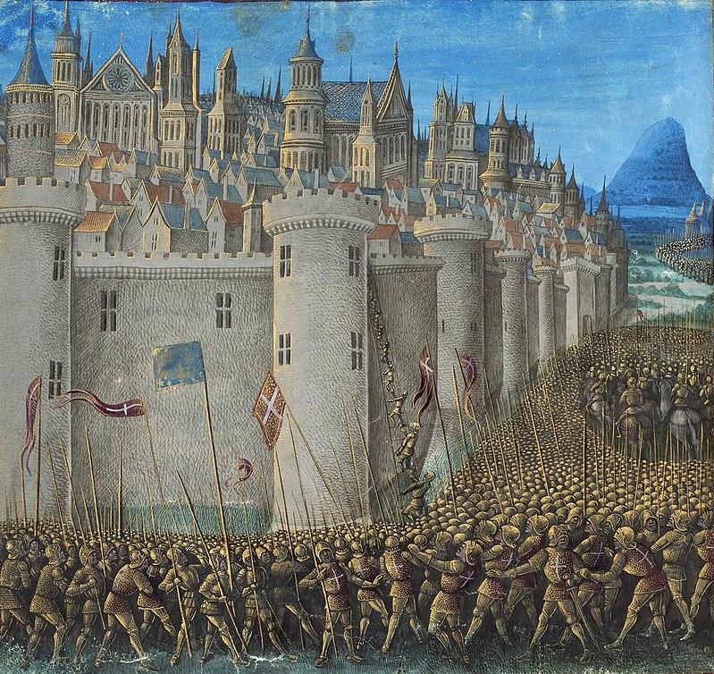 Осада крестоносцами Антиохии. Миниатюра Жана Коломба из книги Себастьена Мамро «Походы французов в Утремер» (1474)