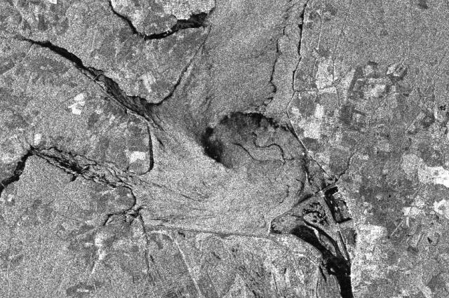 Спираль вихря в Горьковском море на радиолокационном снимке, сделанном из космоса.