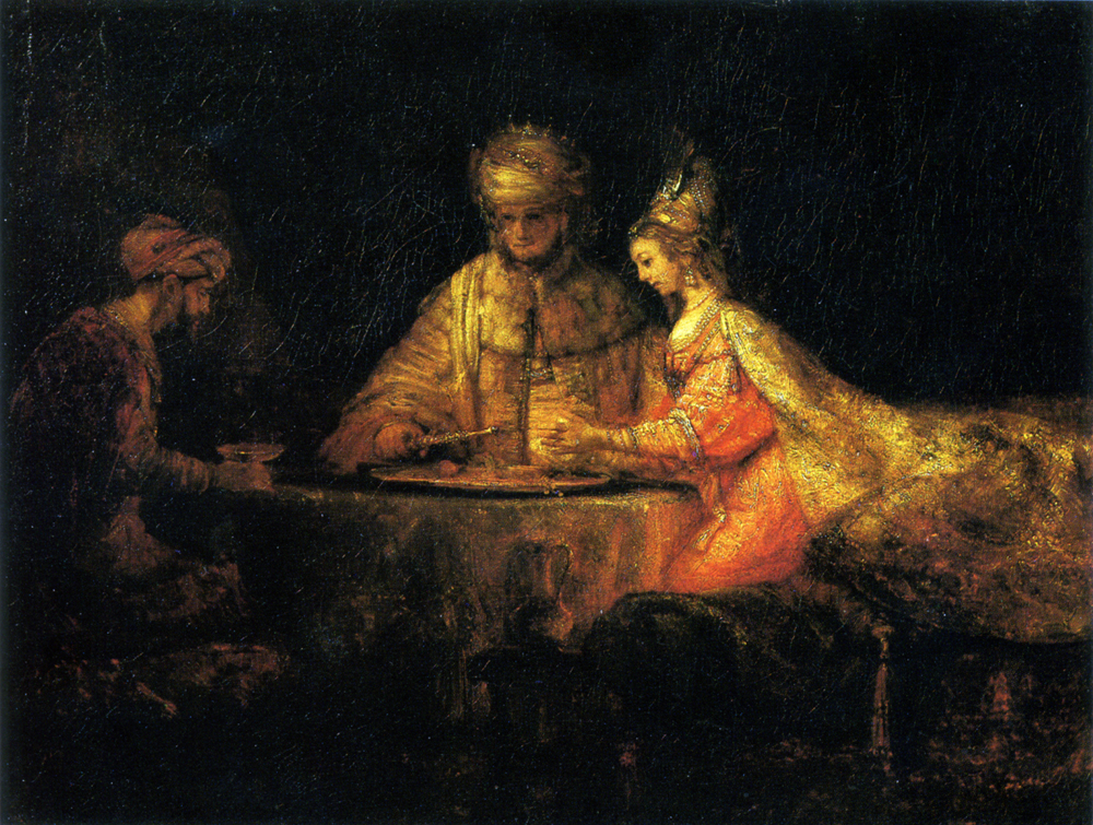 Рембрандт Харменс ван Рейн «Артаксеркс, Аман и Эсфирь»