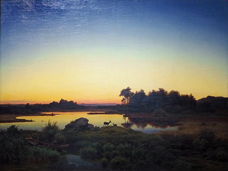Антон Цвенгауэр. Пейзаж с оленем на закате.