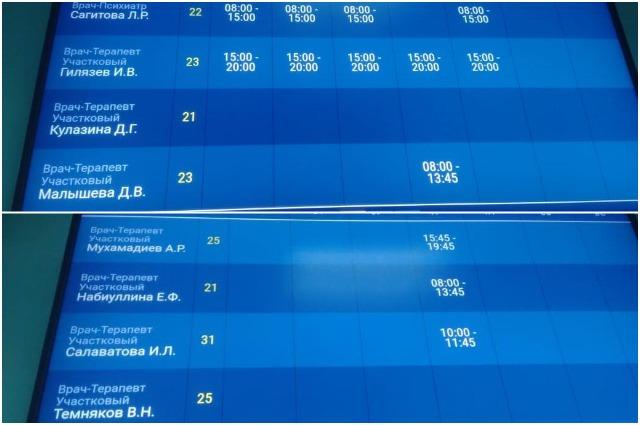 табло с расписанием приема терапевтов иглинской црб