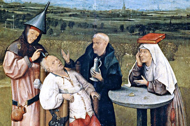 Картина Иеронима Босха с изображением трепанации (c.1488-1516).