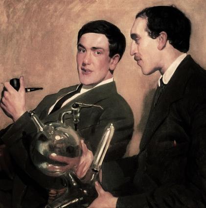 Капица (слева) и Семёнов (справа). Осенью 1921 года Капица появился в мастерской Бориса Кустодиева и спросил его, почему он рисует портреты знаменитостей и почему бы художнику не нарисовать тех, кто станет известными. Молодые учёные расплатились с художником за портрет мешком пшена и петухом.