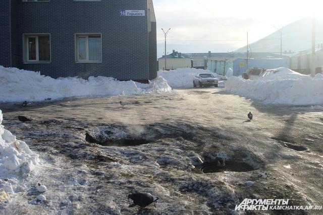 Теплотрассы не в порядке: люки парят всю зиму.