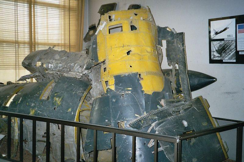 Обломки сбитого самолёта U-2 Гэри Пауэрса, выставленные в Центральном музее Вооружённых сил в Москве