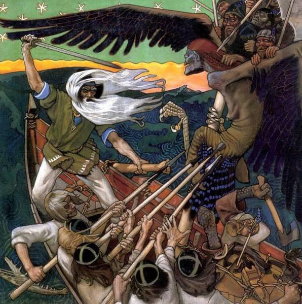 Вяйнямёйнен обороняет сампо от ведьмы Лоухи. Аксели Галлен-Каллела