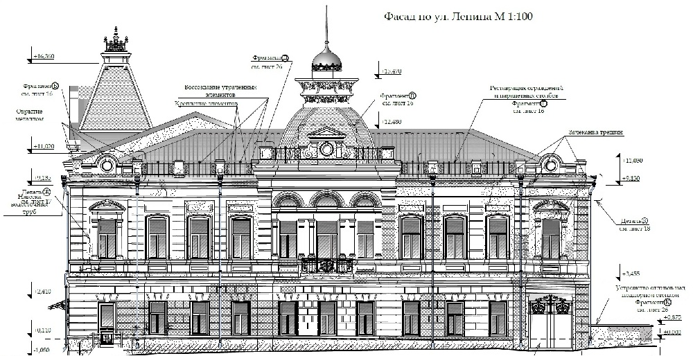 Фасад здания поземельного банка по улице Ленина.