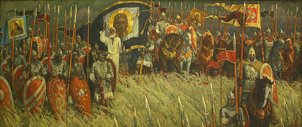 Куликовская битва. Хоругви с изображением Спаса Нерукотворного
