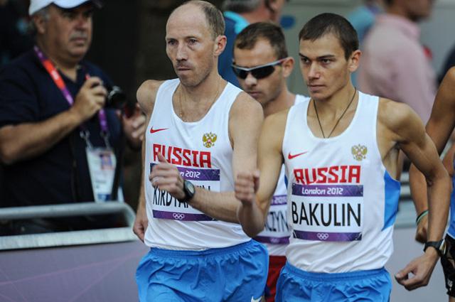 Российские спортсмены Сергей Кирдяпкин и Сергей Бакулин в соревнованиях мужчин по спортивной ходьбе на дистанции 50 км во время XXX летних Олимпийских игр в Лондоне. 2012 год