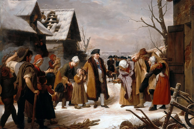 Людовик XVI раздает милостыню крестьянам Версаля