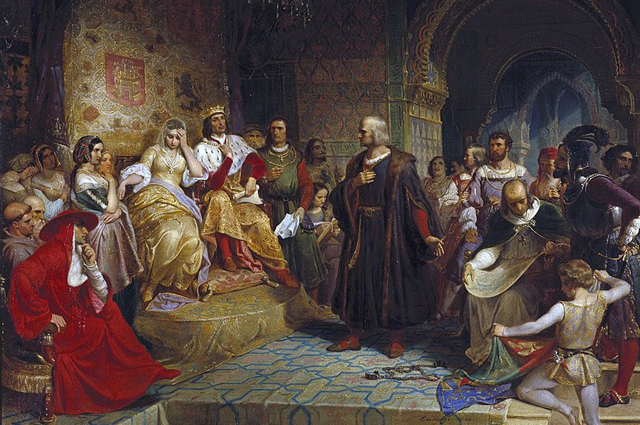 «Колумб перед королевой» Эмануэль Готлиб Лойце (1843)
