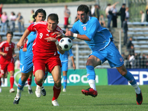 Александр Прудников во время отборочного матча Чемпионата Европы 2009 между молодёжными сборными России и Грузии, который закончился со счётом 4:0. 2008 год