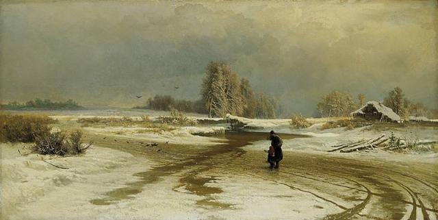 Великий князь Александр Александрович (будущий император Всероссийский Александр III) заказал Васильеву авторское повторение картины «Оттепель».