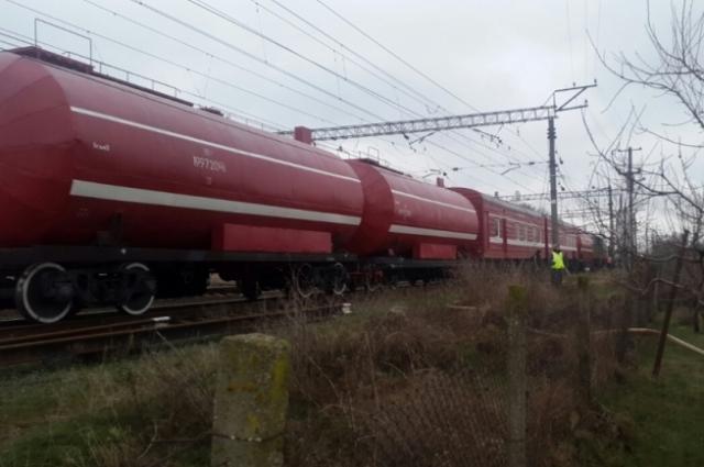 Пожарный поезд, прибывший на место ЧП