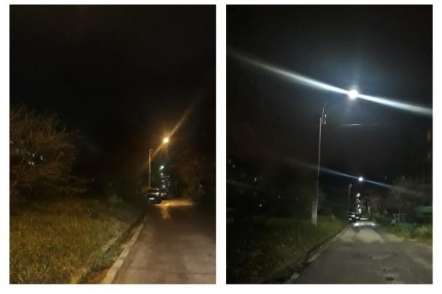На улицах станет светлее и безопаснее. Слева - старое освещение, справа - после замены светильников.