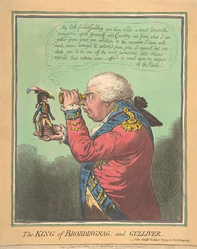 Король великанов разглядывает Гулливера. Английская карикатура начала XIX века изображает короля Георга III и Наполеона.