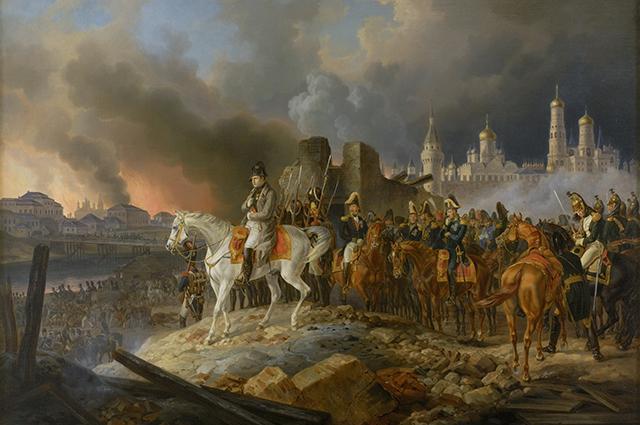 Наполеон в горящей Москве, 1841 г. Художник Альбрехт Адам.