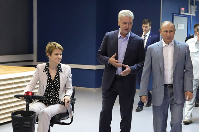 Елена Шмелёва, мэр Москвы Сергей Собянин и президент РФВладимир Путин.