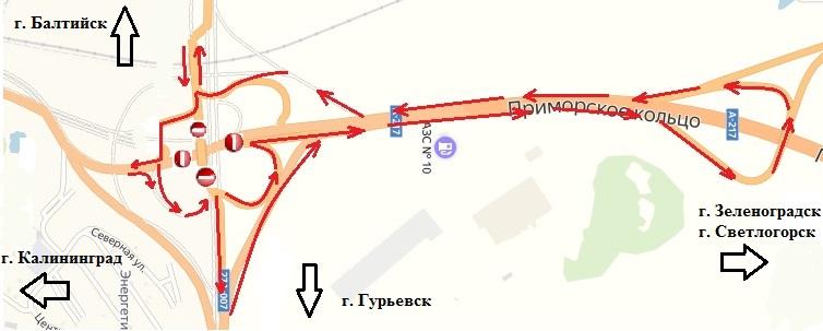 Схема движения транспорта на Северном обходе