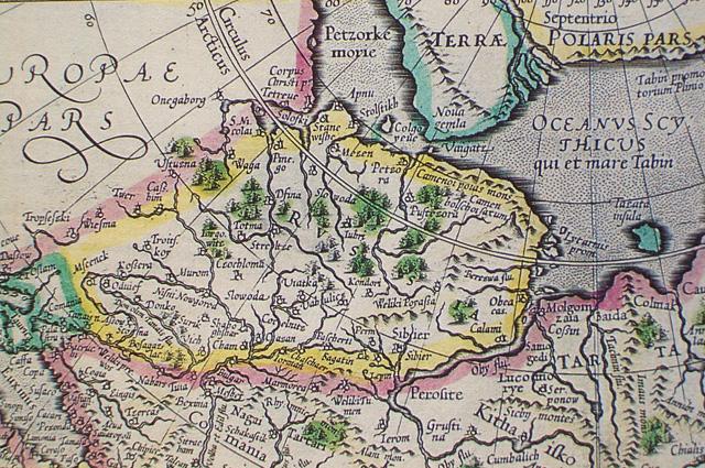 Россия и прилегающие части Тартарии на карте работы Меркатора и его сына (опубликована в 1595 г.).