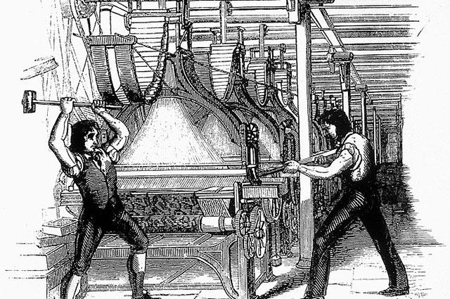 Изображение луддитов, ломающих ткацкий станок, 1812 г.